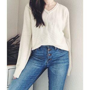 V I N T A G E  》Textured Pullover Cream
